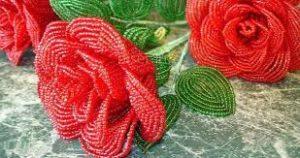 Krasnye rozy, vyshivka biserom